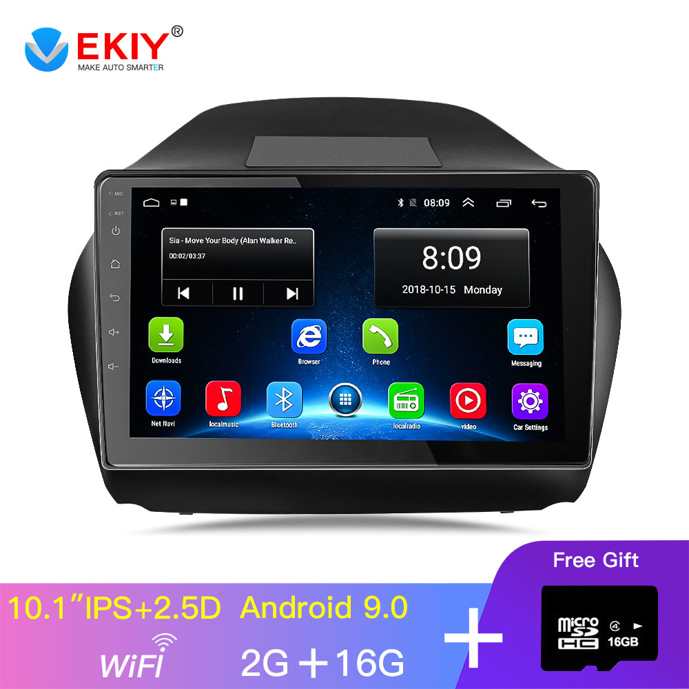 EKIY 10.1'' IPS Car Radio Multimedia No 2 Din Android Video Player Navigation GPS For Hyundai Ix35 1 2 LM Tucson 2 2015-2017 image