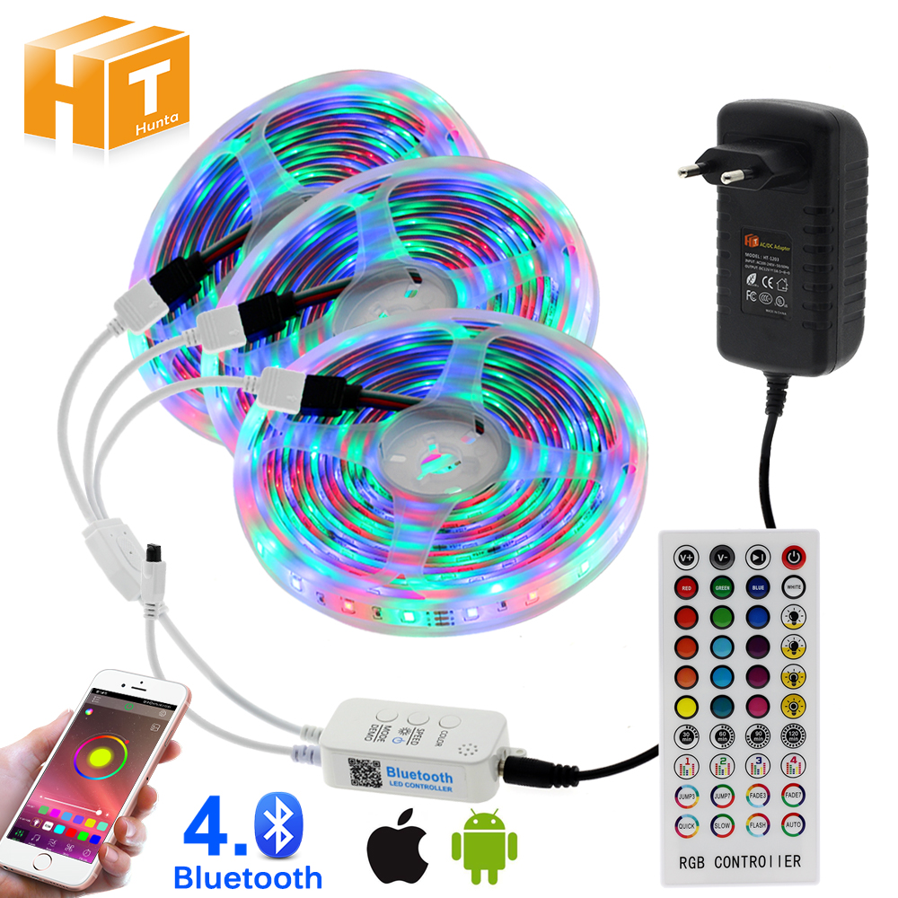 10m 15m 20m RGB Changeable LED Strip Light DC12V 2835 5050 Led Light Tape Bluetooth Music Controller   Power Aadapter