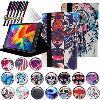 цена на KK&LL For Samsung Galaxy Tab 4 7.0 LTE SM-T235 /  SM-T230 SM-T231 - Leather Tablet Stand Folio Cover Case + Free stylus