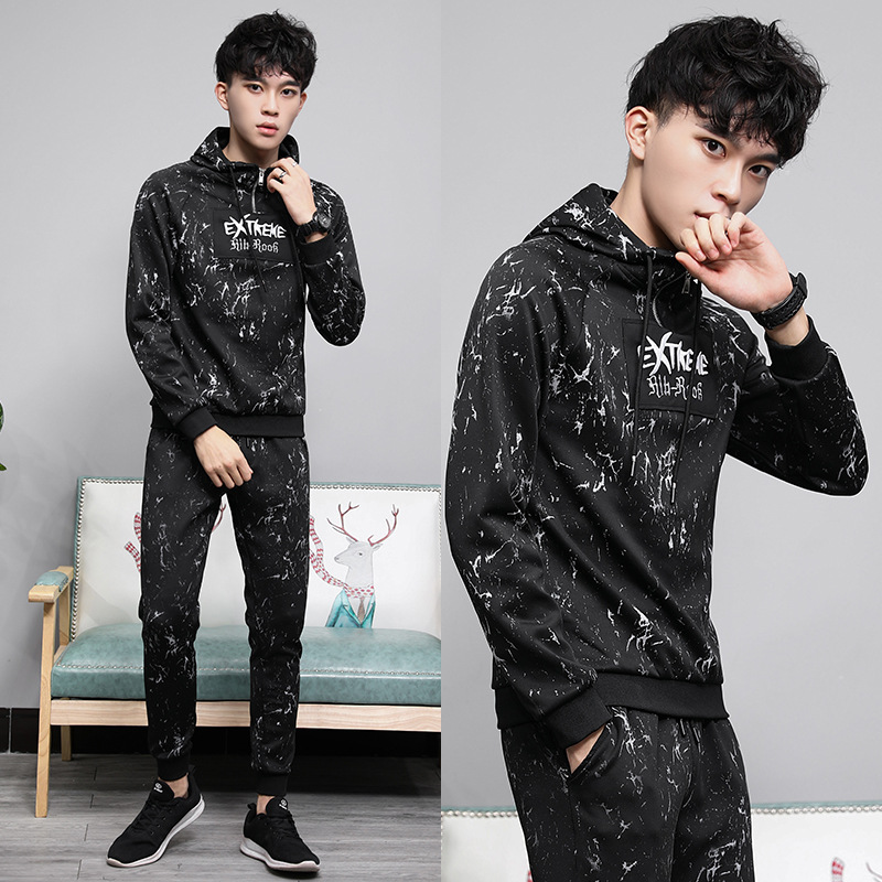 Sports Leisure Suit Men's 2019 New Style Spring Summer Jogging Suits Hoodie Hooded Couple Clothes Embroidered Two-Piece Set