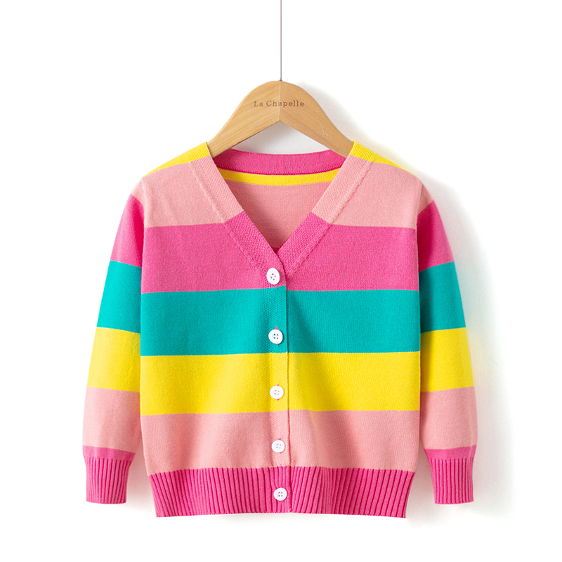 2020 Spring Autumn Girls Sweater V Neck Long Sleeve Cotton Baby rainbow Cardigan Kids Clothes Children knit Coat 2-7 Years