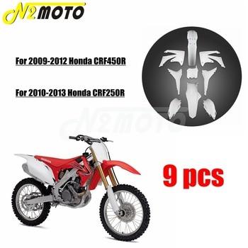 White Motorcycle Bodywork Fairing Kit Front & Rear Fenders Mudguard Side Panel for Honda CRF450R CRF250R Dirt Pit Bike 2009-2013