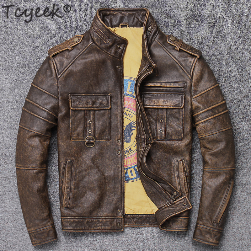 Tcyeek 100% Real Leather Jacket Men Autumn Winter Clothes Streetwear Moto Fit Genuine Cow Leather Coat Men's Leather Jacket 9086