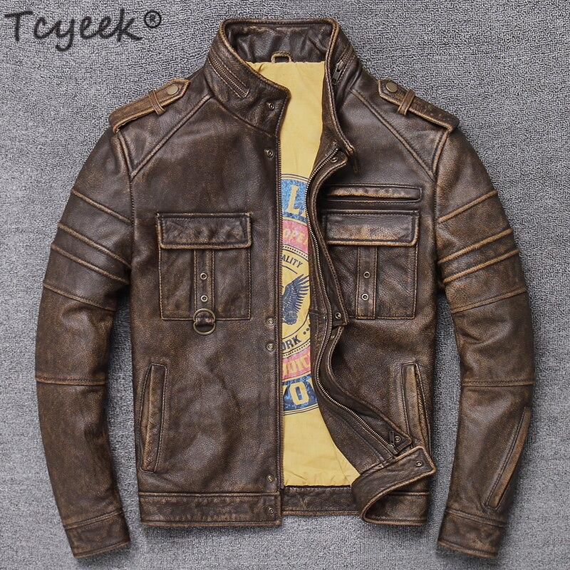 Tcyeek 100% Real Leather Jacket Men Autumn Winter Clothes Streetwear Moto Fit Genuine Cow Leather Coat Men's Leather Jacket 9086