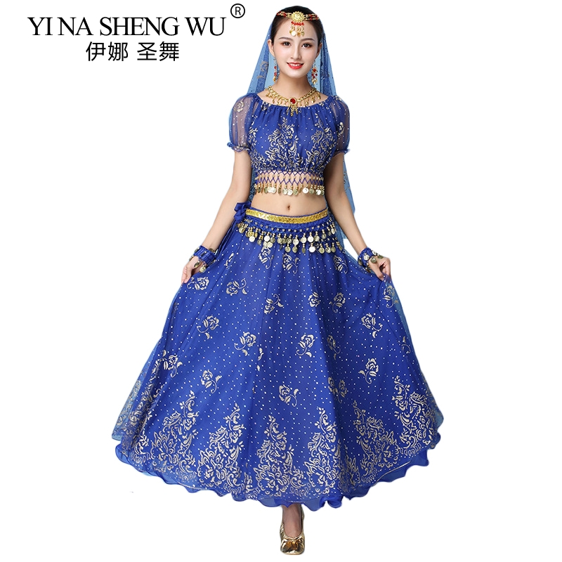 Bollywood Dress Costume Women Indian Dance Set Belly Dance Sari Clothing Belly Dance Performance Clothes Chiffon Dance Set New