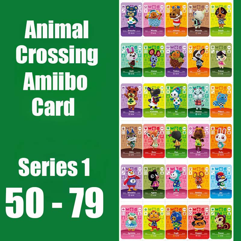 Animal Crossing Card Amiibo Card Work for Switch NS 3DS Games Series 1 50-79 Animal Crossing Amiibo Cards New Leaf image
