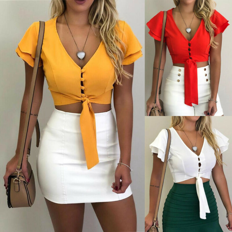 Ladies Summer Fashion Womens Ruffled Button-Down T Shirt Top Casual Solid Color Lace Up Tee