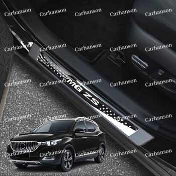 For Mg Zs Accessories Door Sill Pedal Cover 2020 Car Scuff Plate Trim Auto Protector Styling Guard Sticker 2019 2016 2018 2017 for car sticker hyundai santafe 2019 accessories stlyling staninless steel door sill protector welcome pedal scuff plate trim