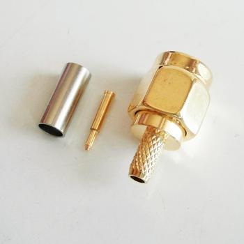1X Uds conector Coaxial RF de alta calidad SMA macho Jack Crimp para RG316 RG174 RG179 LMR100 enchufe de Cable Coaxial chapado en oro
