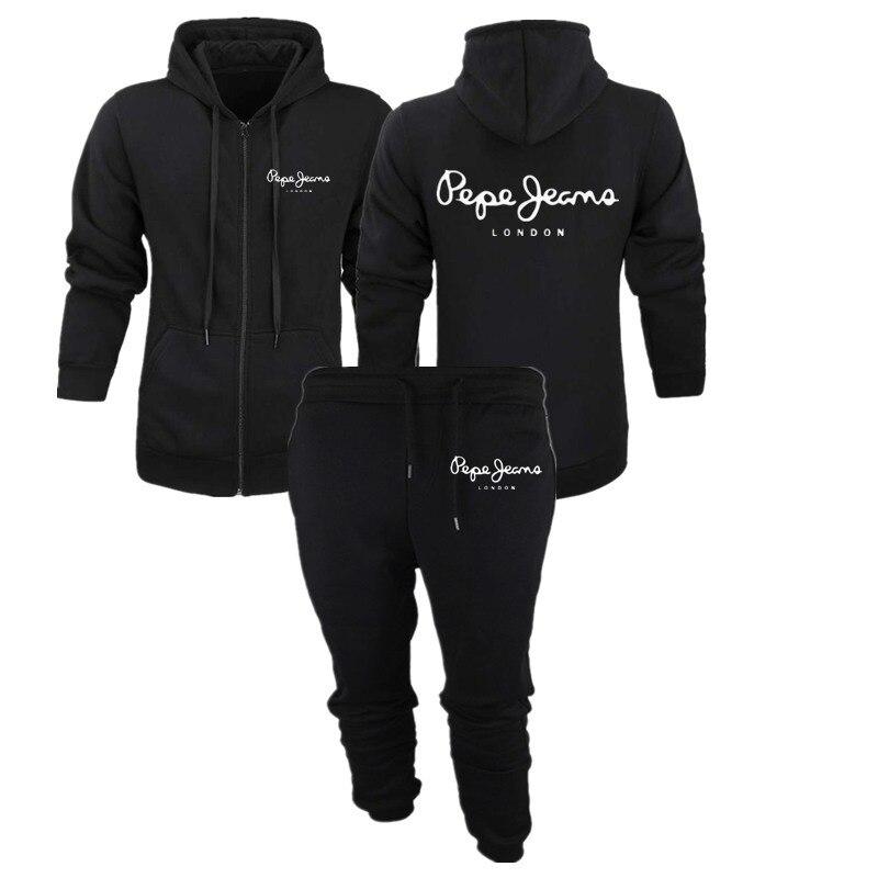 2019 New Fashion Hoodies Men Sport Suit PEPE JEANS Sweatshirt +Sweatpants Suits Casual Long Sleeve Pullover Hoodie Clothing