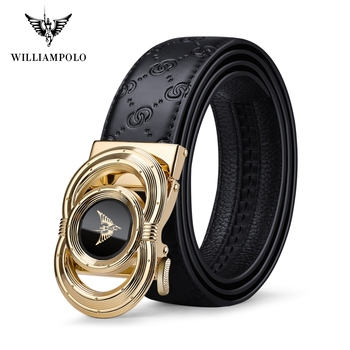 Williampolo Waist Belt For Men High Quality Casual Male Waistband Genuine Leather Belt Automatic Buckle Belt PL20095-96P