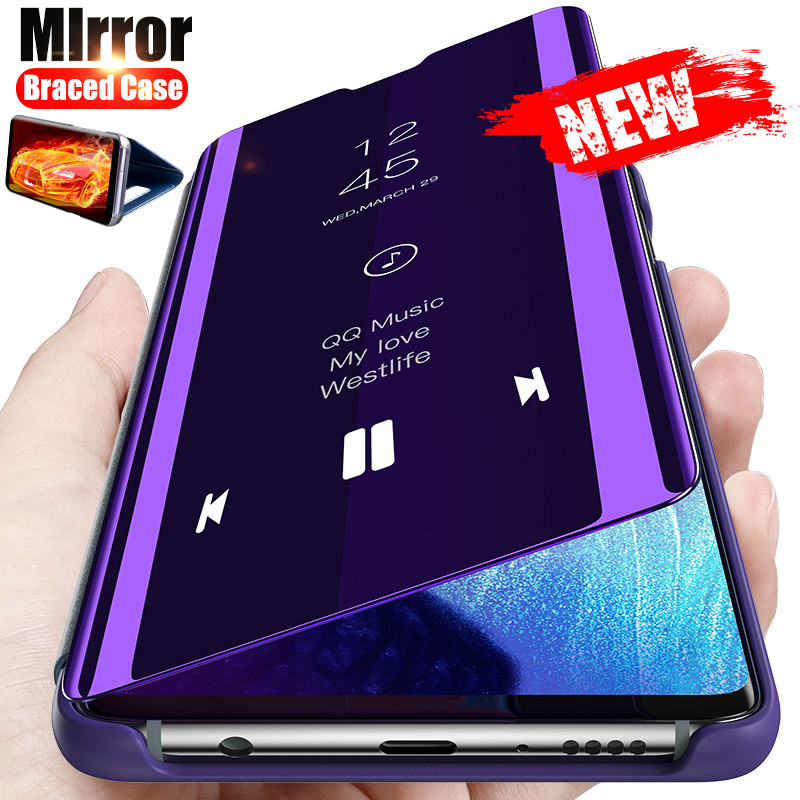 Smart Mirror Flip Case For Samsung Galaxy A51 A50 A71 A12 A32 A21s A52 A31 A70 S9 S8 S10 Note 10 9 8 S20 FE Plus Lite A72 Cover
