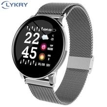 LYKRY akıllı saat erkekler kadınlar kan basıncı aktivite spor bileklik spor izci kan oksijen monitörü smartwatch Android için