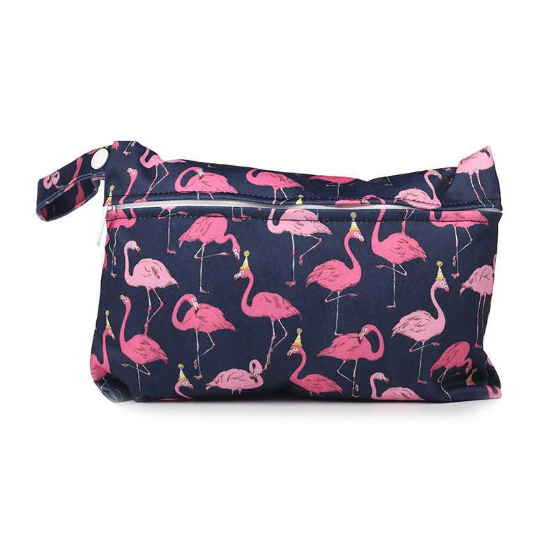 Mini torba na pieluchy wielokrotnego użytku do pielęgnacji podpaski Waterptoof PUL Snap Handle Wetbag torba na pieluchy macierzyńskie torby do wózka 15*22.5cm