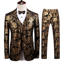 Men's Luxury Suit Three-Piece Set (Jacket + Vest + Pants) Dinner Dress High-end Custom Plus Size Printed Suit Set Men residence major suit high set counters million baroque full luxury retro dinner exaggerated statement necklace girlfriend gift