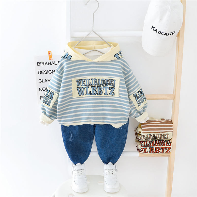 HYLKIDHUOSE Boys Clothing Sets 2020 Spring Stripe Hooded Baby T Shirt Jeans Toddler Infant Casual Clothes Children Kids Clothing