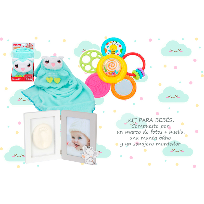 Pack 3 Regalos Infant Newborn-baby Blanket + Photo Holders Footprints Bebe + Rattle-Regalos Original