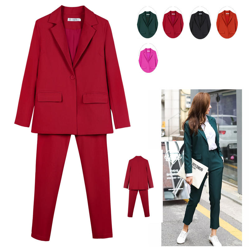 Work Pant Suits OL 2 Piece Set for Women Business interview suit set uniform smil Blazer and Pencil Pant Office Lady suit image