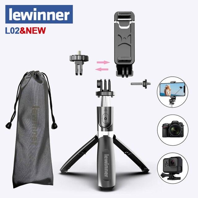 Lewinner L02 hepsi bir arada taşınabilir bluetooth Tripod özçekim sopa Monopod Gopro 7 6 5 spor eylem kamera 1/4 vida görünüm