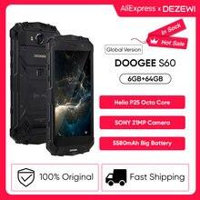 Ip68/ip69k doogee s60 carga sem fio 5580mah 12v2a carga rápida 5.2 core core fhd helio p25 octa núcleo 6gb 64gb smartphone 21.0mp câmera