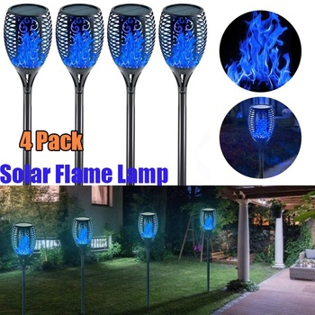 4pcs Solar powered LED Flame Lamp Waterproof 33LEDs Lawn Flickering Torch Light Outdoor Solar LED Fire Lights Garden Decoration image
