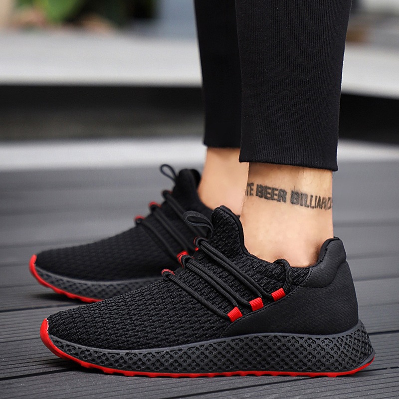 Men Sneakers Black Mesh Breathable Running Sport Shoes Male Lace Up Wear resistant Men Low Athletic Sneakers zapatillas hombre|Running Shoes| |  - title=