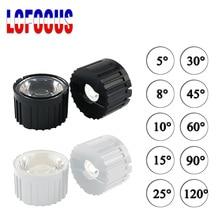10 zestaw wysokiej mocy 1W 3W 5 W soczewki LED 20MM soczewki PMMA ze wspornikiem 5 8 15 25 30 45 60 90 120 stopni dla 1 3 5 watt Light Beads