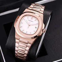 Rose gold mens mechanical watches sapphire glass white dial stainless steel bracelet sports watch Glide sooth second hand wristw