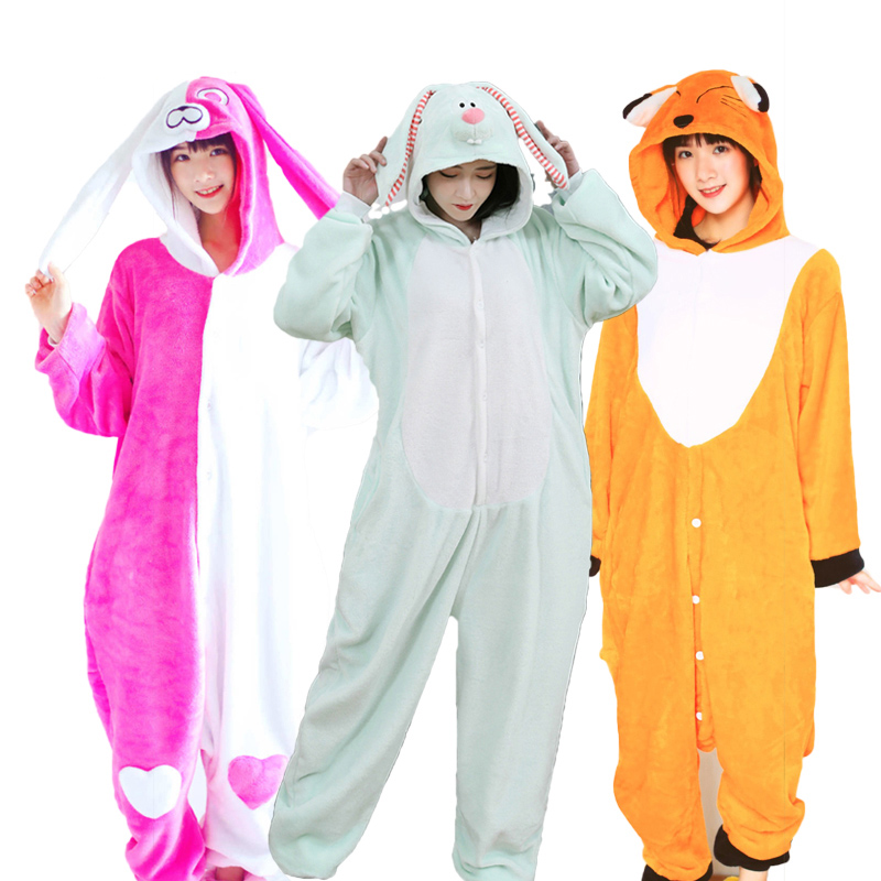 Adult Men Women's Pajamas Animal Panda Cat Home Suit Flannel Hooded Soft Dinosaur Sleepwear Onepiece Winter Couple Pijamas Set