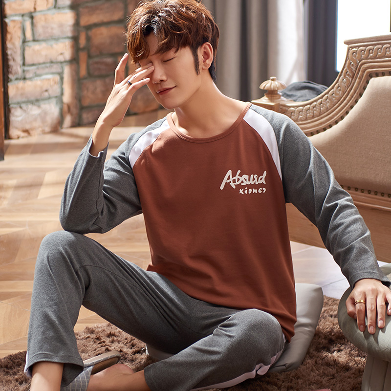 Letter Printing Homesuit Homeclothes Pajamas For Man Sleepwear Pajama Men Fashion Style Crew Neck Long Pants Long Sleeve Pj Set