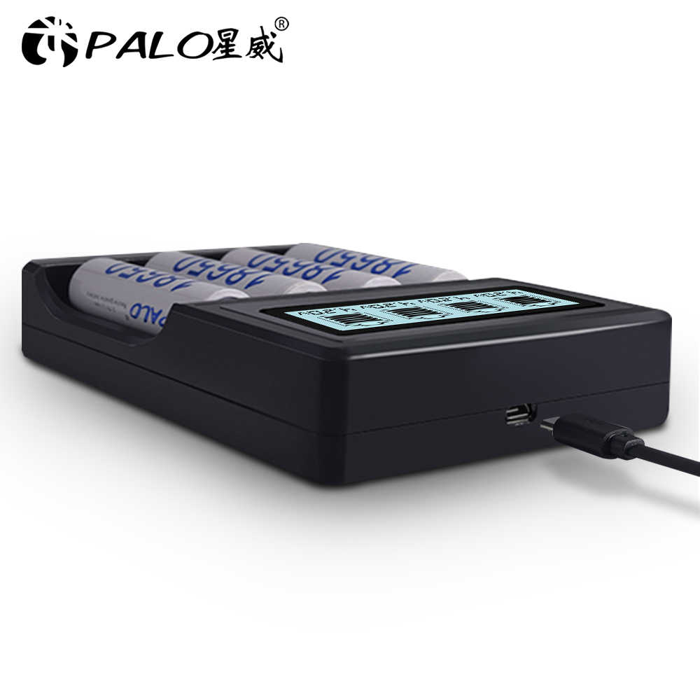 Ładowarka PALO do 18650 26650 21700 18350 14500 3.7 V bateria litowa + 4 szt. AA 14500 900mAh 3.7 V baterie litowo-jonowe