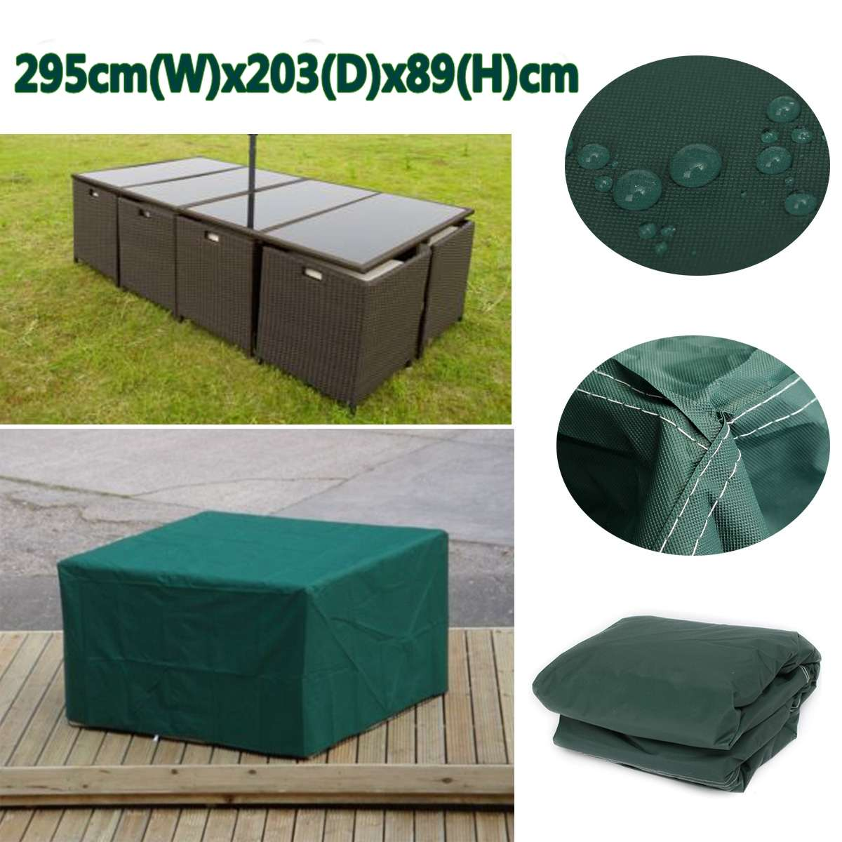 295x203x89cm Waterproof Garden Outdoor Furniture Dust Cover Breathable Table Shelter Green 210D Woven Polyester
