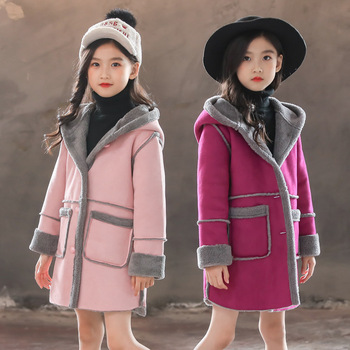 Winter New Girls Hooded coat Outerwear Girls clothes Kids outerwear warm suede fleece Fluffy Outerwear coat 3 4 5 6 7 8 9 10-12T фото