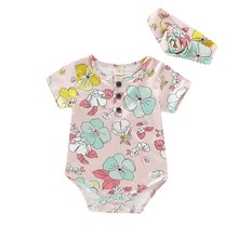 hilittlekids 2Pcs/Set Summerborn Baby Girls Floral Print Set Short Sleeve Bodysuit+Headband