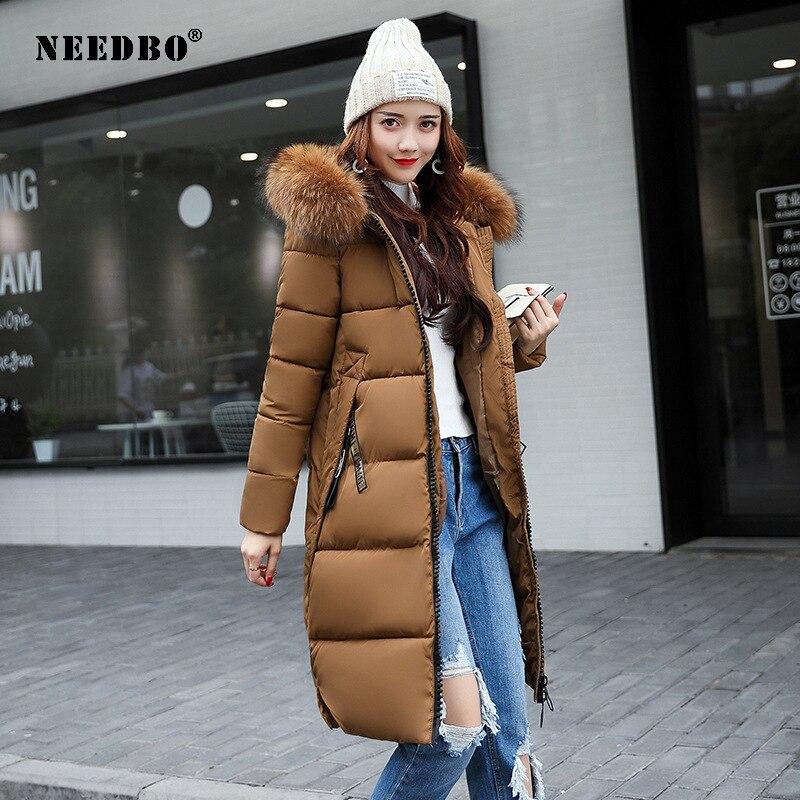 NEEDBO Winter Jacket Women Fur Collar Long Parka Warm Slim Winter Coat Woman Puffer Jacket Oversized