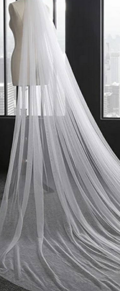 Custom Made Simple Tulle Veil 3m With Comb