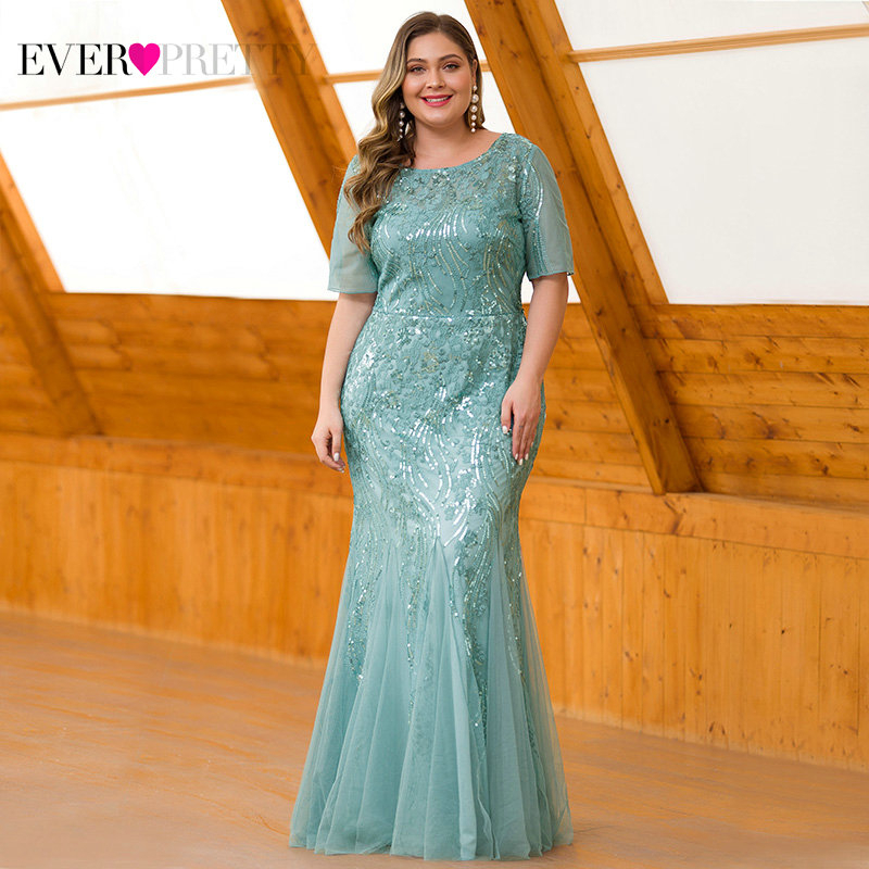 Plus Size   Prom     Dresses   Ever Pretty EZ07705 Seuqined O-Neck Short Sleeve Elegant Little Mermaid   Dresses   Formal Party Gowns 2019