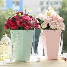 Цветочные бумажные коробки с ручками объятия ведро розы флорист подарок вечерние подарочная упаковка картонная упаковка коробка мешок