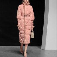 Frauen Winter Leichte Unten Rosa Mantel Mit BeltElegant Fishtail Schlank Mäntel und Jacken