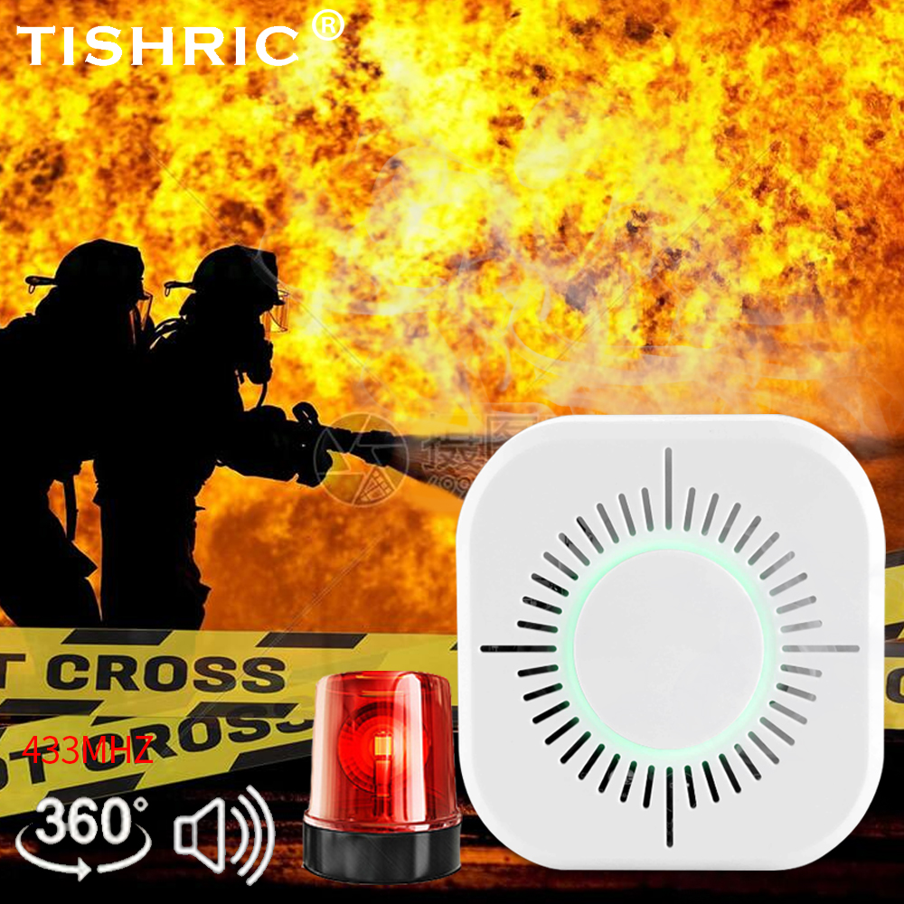 TISHRIC Wireless 433mhz Smart Smoke Detector Fire Smoke Alarm Sensor Cigarette Work With SONOFF Bridge Home Automation Security