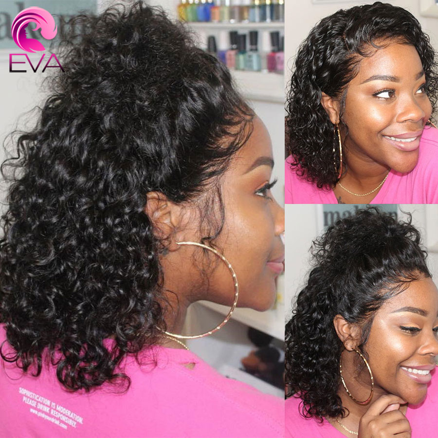 Eva Hair 150% Full Lace Human Hair Wigs Pre Plucked With Baby Hair For Black Women Short Bob Curly Brazilian Remy Hair Wigs