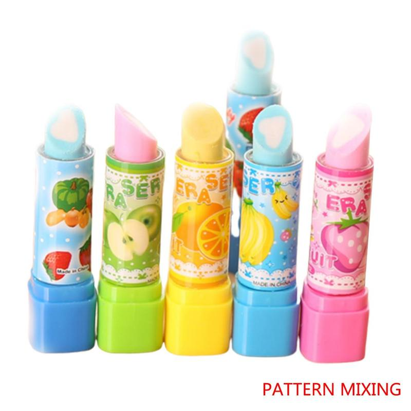 1pc Lovely Kid Child School Students Lipstick Shape Eraser Rubber Novelty Stationery Multi-color Optional Radiergummi