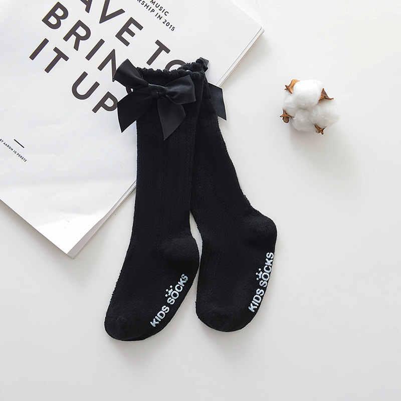 2020 Nieuwe Kinderen Sokken Peuters Meisjes Grote Boog Knie Hoge Lange Zachte Katoen Kant Baby Sokken Kinderen Strik 100% Katoen sokken
