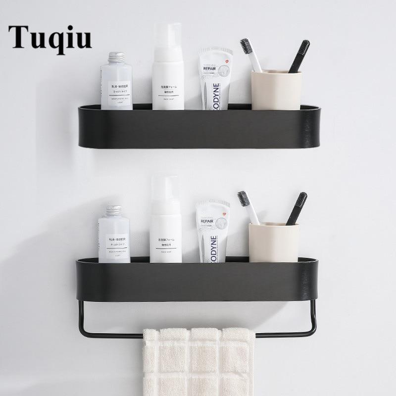 Bathroom Shelf  With Towel Bar Nail Free Aluminum Bath Shower Shelf Black/Silver Bath Shampoo Holder Basket Holder Corner Shelf