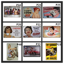 Pin up Girl Metal Tin Sign Coffee Posters Retro Signs Vintage Garage Bar Pub Wall Decor for Bar Pub Club Art Home Decor vintage car tin signs bar pub home wall decor retro metal art poster metal plate plaques vintage retro bar sign garage rule sign