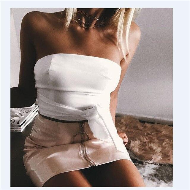 2019 New Women Girl Sexy Pencil Skirts Zipper High Waist Skirt Solid PU Leather Skirt Stretch Bodycon Short Mini Skirts Hot 4