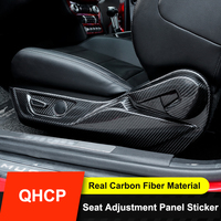 QHCP Seat Adjustment Cover Frame Panel Sticker Trims Front Seat Real Carbon Fiber 7Pcs For Ford Mustang 2015 2016 2017 2018 2019