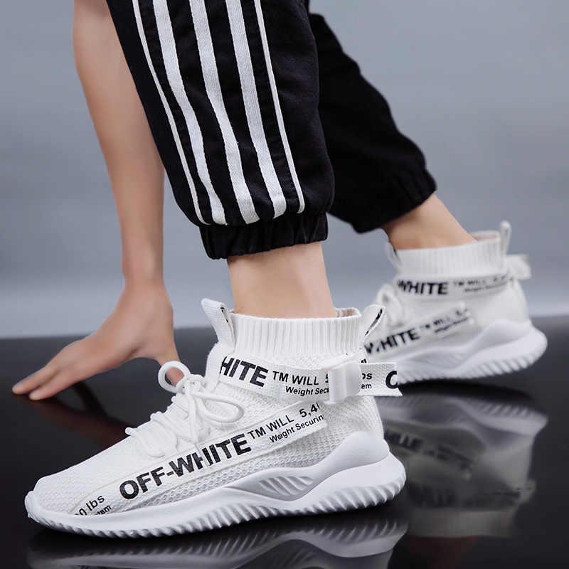Moda masculina caliente Zapatos de malla cómoda ligera hombres populares de alta ayuda Casual zapatillas de correr blancas zapatillas Casuales