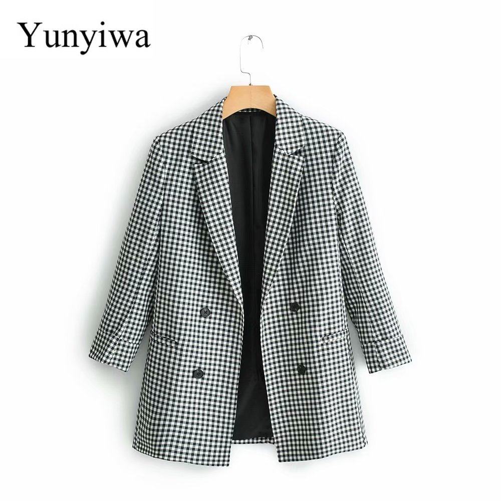 2020 Women Fashion Plaid Print Black Pockets Blazers Office Lady Bouble Breasted Coat Notched Collar Business Suit Tops