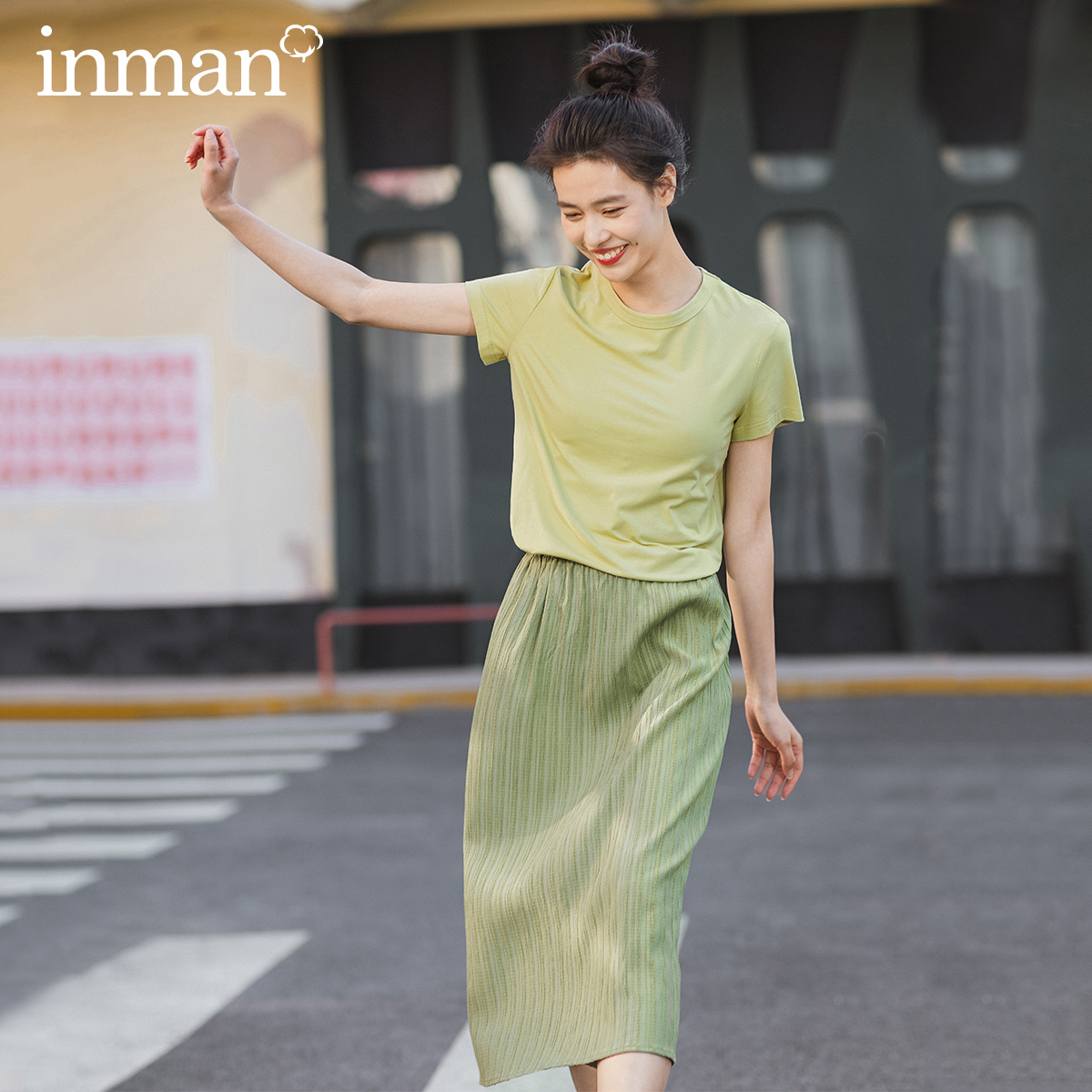 INMAN 2020 Summer New Arrival Round Collar Short Sleeve T-shirt With Drape Leisure Skirt Two-piece Suit